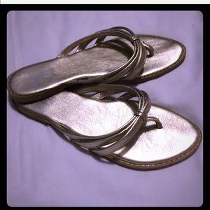 Nine & Co metallic gold sandals